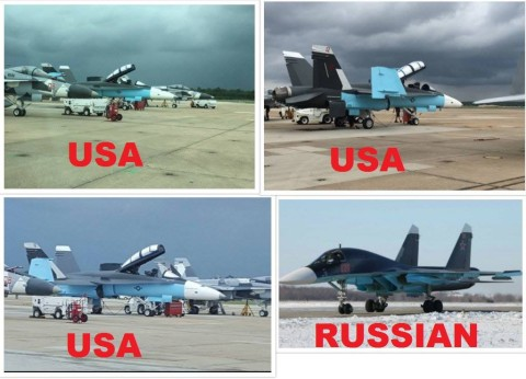 USAF F-18 colored like Russian Su-34 — false flag operation?