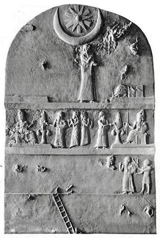Dvanáctá planeta, obr. 09a: Ur-Nammu stele, Third Dynasty of Ur in 21st century BC. The founder of this dynasty Ur-Nammu built a great Ziggurat to Nanna Moon God