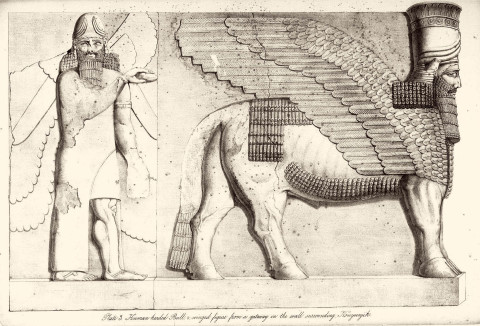 Winged bull (Nergal) and attendant, sculptures of the Nergal Gate (A. H. Layard, A Second Series of the Monuments of Nineveh, 1853, pl. 3)
