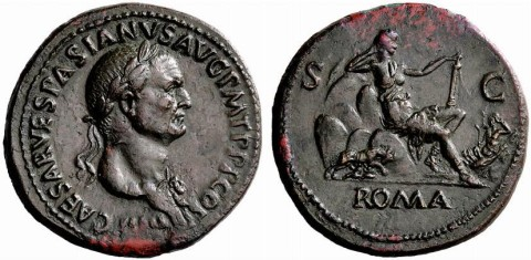 coin issued by Vespasian-Roma was the goddess that symbolized city of Rome-enthroned upon hills of Rome