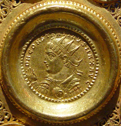 Coin of Constantine I, 324, emperor is shown wearing the radiate crown, evidence of his continued devotion to the Sun God, Apollo.