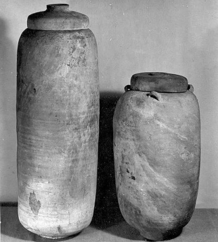 Dead Sea scrolls: Jars from Qumran that held the first found scrolls.