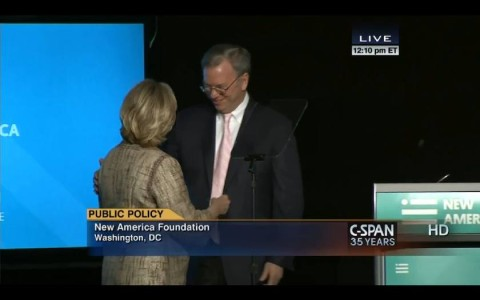 """Google Chairman Eric Schmidt introduces Hillary Clinton as the keynote speaker at the 16 May 2014 conference """"Big Ideas for a New America"""" for the New America Foundation, of which Schmidt is the Chair of the Board and the largest funder. Source: US state C-SPAN TV"""