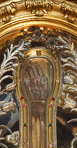 The hand of St. Francis Xavier is seen in a reliquary at the Jesuits' Church of the Gesu in Rome Sept. 8. Relics of holy people have been venerated since early Christianity. (CNS photo/Paul Haring)