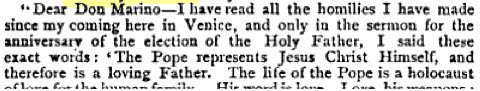 A letter from Cardinal Giuseppe Sarto (who became Pope Pius X in 1903) as quoted in Publications of the Catholic Truth Society Volume 29, 1896, 11.