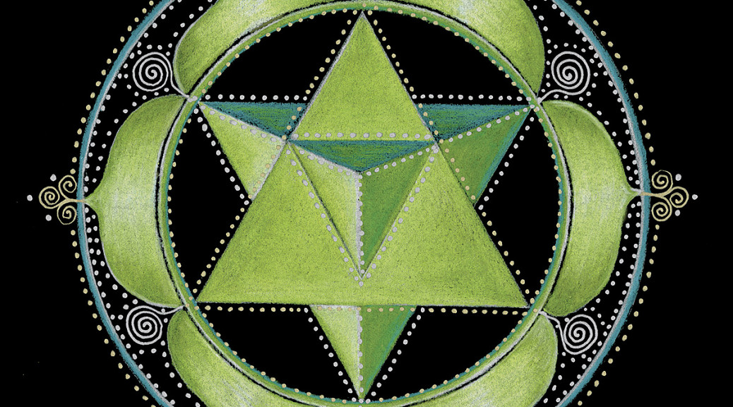 Lower three chakras and the upper three chakras are anchored in the heart, which is also the place of the soul. The two triangles represent the upper and lower chakras. When they intersect they form a Merkaba (spirit, light, body) — The heart chakra is the core of who we are and anchors us to the core of the earth and to the core of our source. The heart releases 60% more electromagnetic energy than our brains. — It is our power center, and is fueled by love.