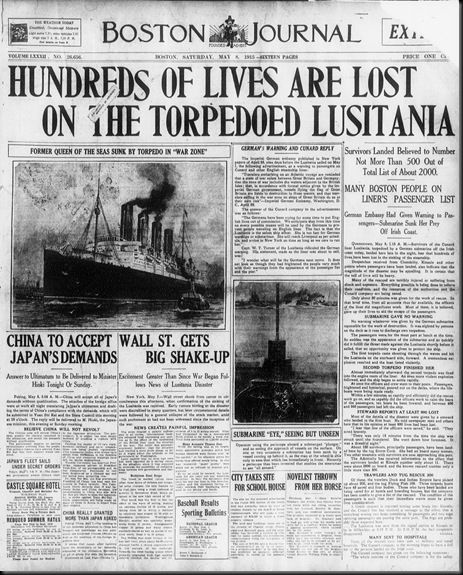 lusitania sunk by a submarine 213776a