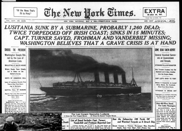 lusitania sunk by a submarine-NYT