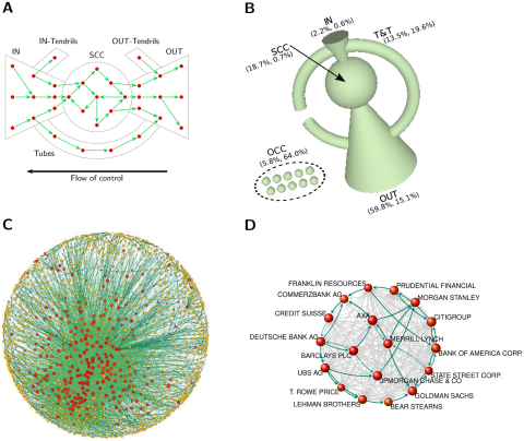 (C) The structure of the control network of transnational corporations. Node size scales logarithmically with operation revenue, node color with network control (from yellow to red). Link color scales with weight. (D) Zoom on some major TNCs in the financial sector. Some cycles are highlighted.