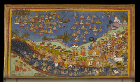 "When morning came, Rama, taking the celestial ship, ready to start. That ship was large and beautifully decorated, two-story, with many rooms and windows. The ship issued a melodic sound before soar in the clouds … so is described in the ancient Indian epic ""Ramayana""."
