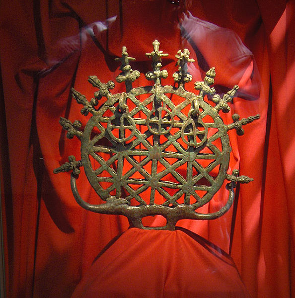 Bronze religious standard symbolizing the universe, used by Hittite priests; height: 34 cm; found at Alacahöyük; 2100-2000 BC; Product of Hattian art; Museum of Anatolian Civilizations, Ankara, Turkey.