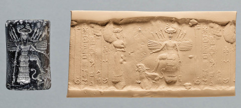 Dvanáctá planeta, obr. 12: Cylinder seal dedicated to little-known goddess, Ninishkun, who is shown interceding on the owner's behalf with the great goddess Ishtar. Ishtar places her right foot upon a roaring lion, which she restrains with a leash. The scimitar in her left hand and the weapons sprouting from her winged shoulders indicate her war-like nature. Iraq, Akkadian Period, Reign of Naramsin or Sharkalishari, ca. 2254-2193 BC | Source: Oriental Institute Museum