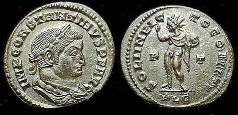 Coin of Emperor Constantine I depicting Sol Invictus with the legend SOLI INVICTO COMITI, circa 315