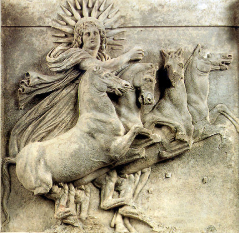 Helios, sun god in the Greco-Roman mythology, temple of Athena in Ilion (Troy). Between the first quarter of the 3rd century BC and 390 BC