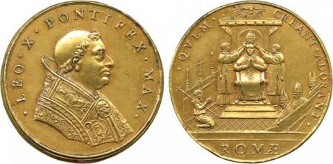papal medal-LEO X PONTIFEX MAX QVEM CREANT ADORANT ROMAE
